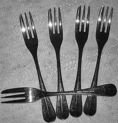 SET of 5 VINTAGE EPNS SILVER PLATED Cake Forks with LOVELY HANDLES/ GREAT COND