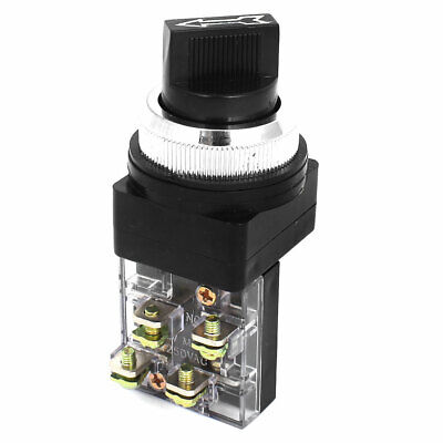 AC 250V 6A 1NO+1NC 2-Positions Selector Self-Locking Rotary Switch