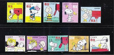 Japan 2014 Snoopy & Friends Peanuts Comic 82 Yen Comp. Set Of 10 Stamp Fine Used