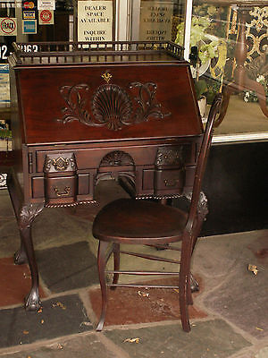 19th C Chippendale Mahogany Block Front Shell Carved Desk w / Ball & Claw Foot