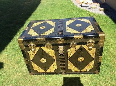 Vintage Grain Painted Steamer Trunk Brass Hardware Lazarowitz Newark NJ