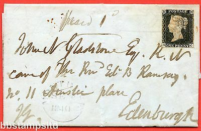 "SG. 2. A1 (2). AS20. "" SC "". 1d black. Plate 3. A fine used example on cover."