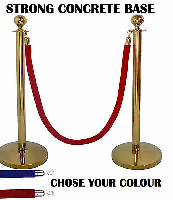 2 X Brass Queue Barrier Posts Crowd Control Security Stanchion Rope Divider Gold