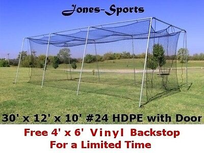 Batting Cage Net 10' x 12' x 30' #24 HDPE (42PLY) with Door Baseball Softball