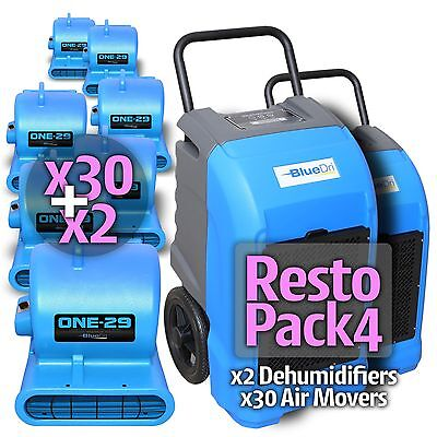 BlueDri™ RestoPack 4 x2 BD-76P Commercial Dehumidifier x30 One-29 Air Mover Blue