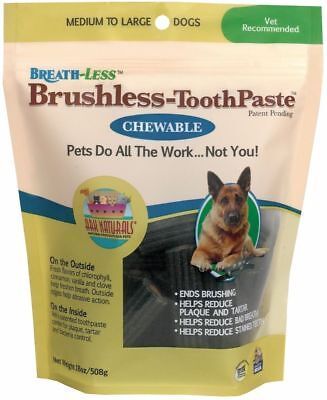Ark Naturals Breath-less Brushless-ToothPaste Chewable Medium to Large Dogs 18oz