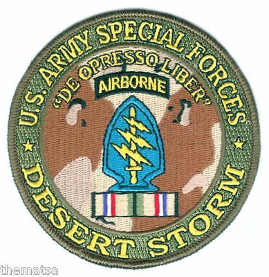 "Army Special Forces Airborne Desert Storm  Ribbon  4"" Embroidered Military Patch"