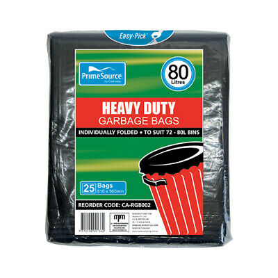 250x Garbage / Waste Bags, Heavy Duty, 72-80L, Individually Dispensed, Star Seal