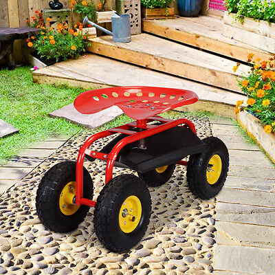 Rolling Garden Cart Work Seat With Heavy Duty Tool Tray Gardening Planting Red