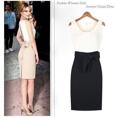 Fashion Womens Sleeveless Slim Fit Elegant Lady Office Party Chic Casual Dress