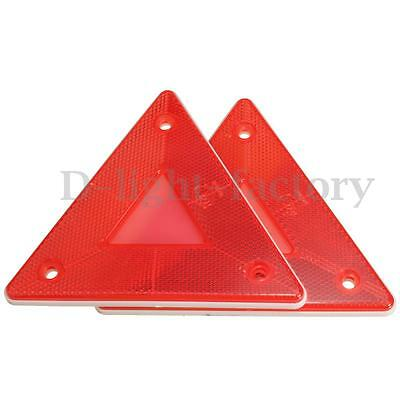 2x Red Triangular Side Red Reflectors For Rear Triangle Truck Trailers Caravans