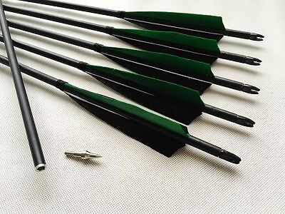 6PK Removable Tips Green Black Carbon Arrows Hunting Arrows Compound Bow Archery