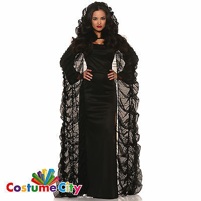 Womens Ladies Vampire Black Chiffon Coffin Cape Halloween Fancy Dress Accessory