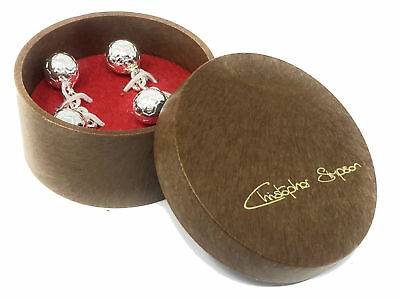 Football Cufflinks Silver Plated and Gift Boxed By Christopher Simpson