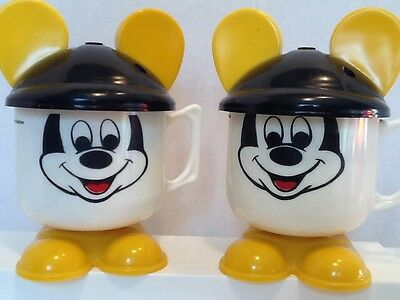 VINTAGE Pair Of MICKEY MOUSE plastic Cups With Ears And Feet- WALT DISNEY- RARE