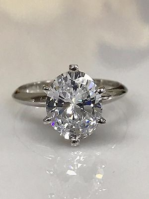 Oval Cut Solitaire Engagement  Ring 3.00ct.  Solid 14k White Gold  #4513