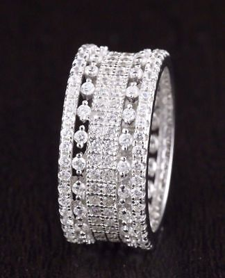 Womens 925 Sterling Silver CZ Wedding Engagement Band Ring 9mm Wide Eternity