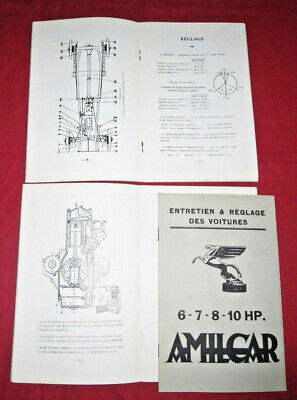 AMILCAR : notice d'entretien 6 HP type C4 7 HP type CGS 7 HP type G 11 HP type E