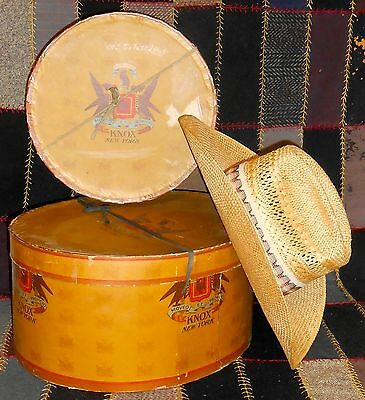2 Vintage KNOX HAT BOXES & a natural straw Cowboy HAT by Resistol