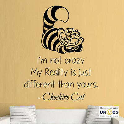 Crazy Reality Cheshire Cat Quote Wall Art Stickers Decals Vinyl Decor Room Home