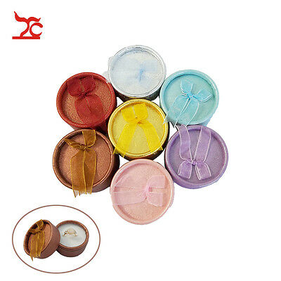 Free Shipping 6pcs Small Round Jewellery Gift Packing Hard Ring Boxes Case