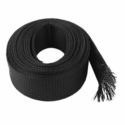 30mm Dia 5M 16Ft Length Nylon Braided Expandable Cable Sleeve Sleeving Harness