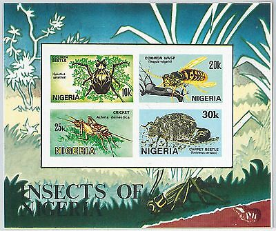 NIGERIA - 1986  Scott # 5503 / 506a miniature sheet  IMPERF : INSECTS