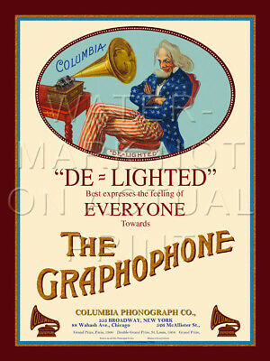 """18"""" X 24"""" Canvas Banner Ad for the Columbia Cylinder Graphophone"""