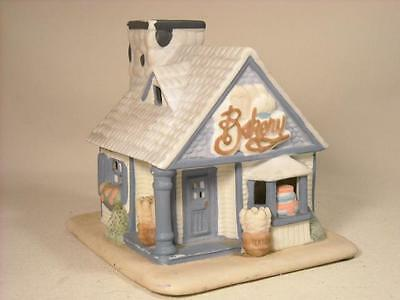Partylite Country Bakery Cottage Shop Tea Light Candle Holder Blue