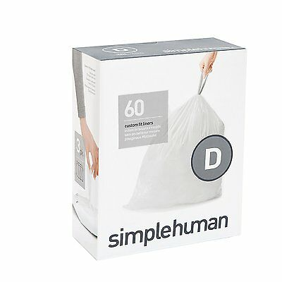 Simplehuman code/size D (20 litres) bin bag liner, CW0254 (Box of 60)