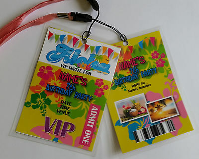 Personalised Hawiian Beach Party Festival Theme VIP Lanyard for Birthday Invites