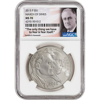 2015-P US March of Dimes Commemorative BU Silver Dollar - NGC MS70 FDR Label