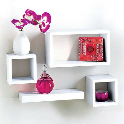 Modern Set Of 4 Floating Shelves Wall Storage Display Unit in White Black Oak