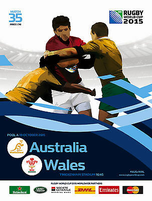 AUSTRALIA v WALES RUGBY WORLD CUP 2015 OFFICIAL PROGRAMME 10 Oct Twickenham
