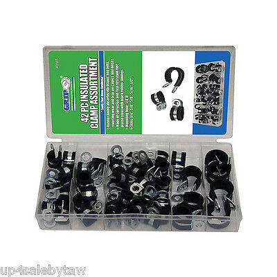 "42pc GRIP Rubber Insulated Clamps Assortment Set 1/4"" 5/16"" 3/8"" 1/2"" 5/8"" Inch"
