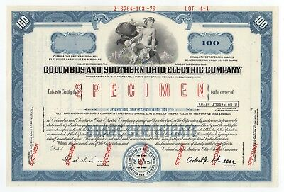 SPECIMEN - Columbus and Southern Ohio Electric Company Stock Certificate