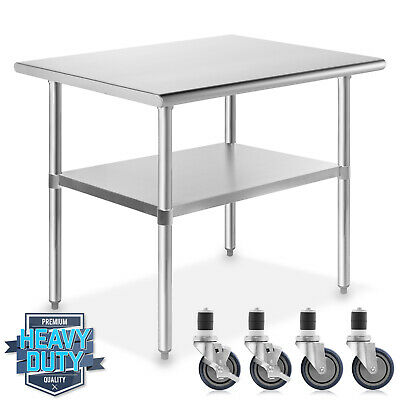 "Stainless Steel Commercial Kitchen Work Food Prep Table w/ 4 Casters - 24"" x 36"""
