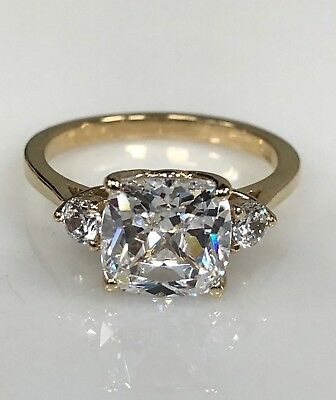 Cushion Cut Solitaire Engagement Wedding Ring 2.25ct. 14K White Gold #4521