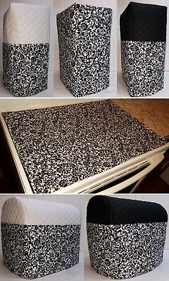 Custom Black & White Floral Damask Cover Set for Kitchen Countertop Appliances