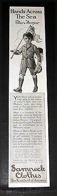 "1918 Old Wwi Magazine Print Ad, Sampeck ""anzac"" Clothes, Hands Across The Sea!"