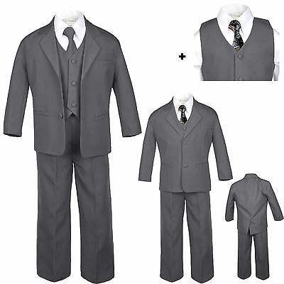 6pc Set Baby Toddler Boy Dark Gray Formal Wedding Party Tuxedo Suit Tie S-20