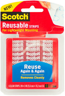 Scotch Reusable Strips For Lightweight Mounting Removable Clear Double Sided 6ct