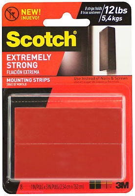 Scotch Extremely Strong Mounting Strips Double Sided Adhesive Indoor Outdoor 8ct
