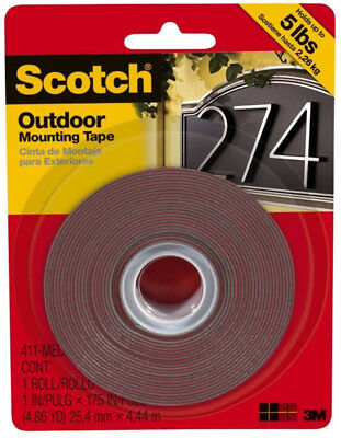 "Scotch Permanent Outdoor Mounting Tape 3M Double Sided Adhesive 1"" x 175"""