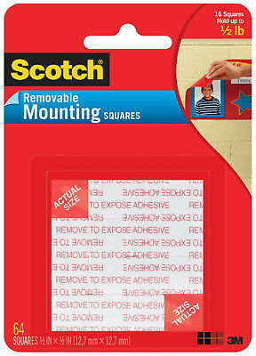 "Scotch Removable Mounting Squares 1/2"" x 1/2"" Double Sided Foam 3M Adhesive 64ct"