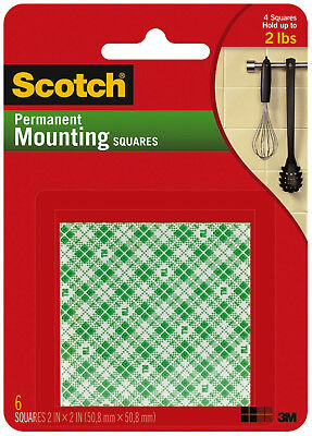 "Scotch Permanent Mounting Squares 2"" x 2"" Double Sided Foam 3M Adhesive 6ct"