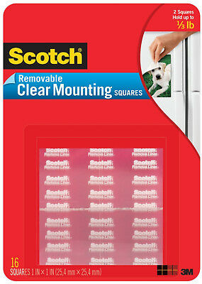 """Scotch Removable Clear Mounting Squares Double Sided Adhesive Photo Safe 1"""" x 1"""""""