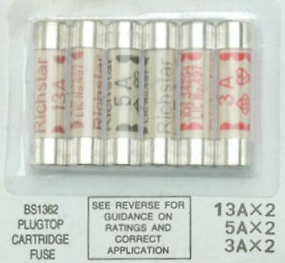 Pack of 6 fuses 2 x 3A 2 x 5A 2 x 13A For UK 3 pin Plug