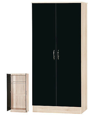 Alpha Black Gloss and Sanremo Oak 2 Door Wardrobe with Hanging Rail