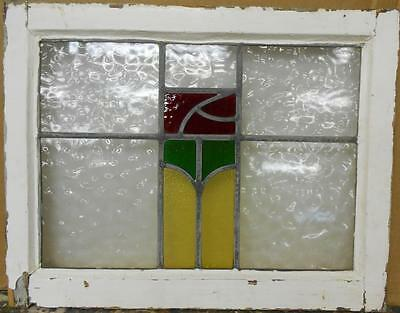 "MID SIZED OLD ENGLISH LEADED STAINED GLASS WINDOW Abstract Floral 23"" x 18"""